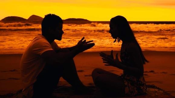 yellow sunset couple
